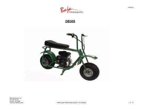 baja mini bike parts manual